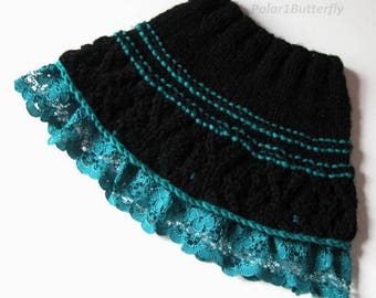 Knit baby skirt, infant/ baby girl fashion, baby shower gift, girl photo props, 3- 6- 9- 12 months skirt knit in black and teal, knit lace