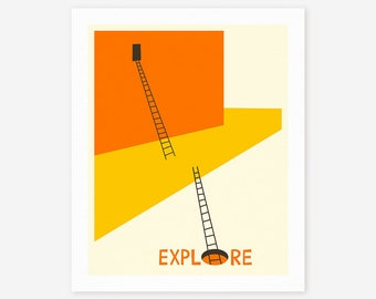 EXPLORE (Giclée Fine Art Print, Photo Print or Poster Print) by Jazzberry Blue