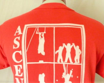 vintage 80's 90's Ascent Program for Growth Mountain Climbing muted wine red graphic t-shirt white back front logo print made in usa Large