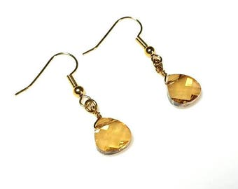 golden shadow Swarovski briolette crystal earrings hypoallergenic earrings nickel free earrings gold drop earrings yellow crystal jewelry