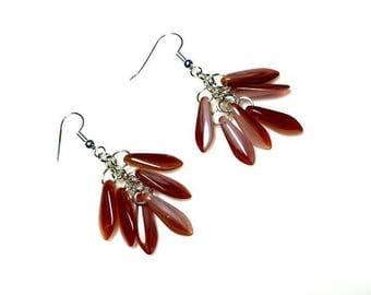 Red Czech Dagger Bead Waterfall Earrings Hypoallergenic Earrings Nickel Free Earrings Long Earthy Cascading Earrings Beaded Dangle Jewelry