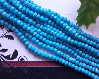 Turquoise Beads, Faceted Rondelles, Small Necklace Beads, 13 Inch Strand,  4 mm, Gemstone Beads, Jewelry Supplies