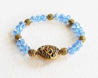 Bracelet Romantique Victorien - Tess d'Uberville - Perles Cristal Swarovski, métal or vieilli ciselé - Bijou créateur, pièce unique