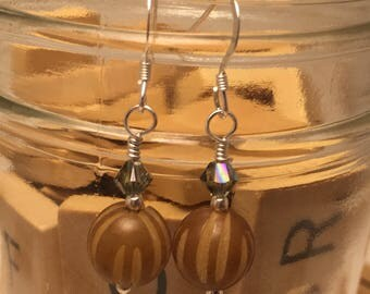 Hand Made Earrings- Carved Seed