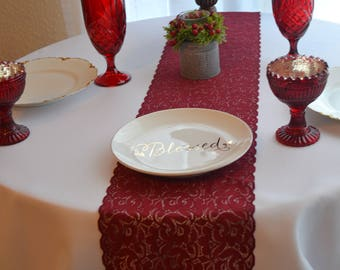"""BURGUNDY LACE Table runner 8.5"""" wide 3FT-17 Ft length/New/ Cut lace not hemmed /Free Sample cuttings/Wedding decor/wedding receptiom"""