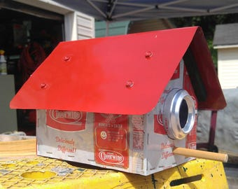 Cheerwine Can Covered Wooden Birdhouse