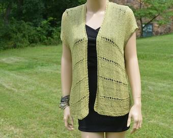 Green Knitted Vest, Handmade Vest, Green Vest, Bohemian Vest, Loose Stitch, Women Wear, Knitted Wear, Linen Vest, Knitted Vest, Women Vest