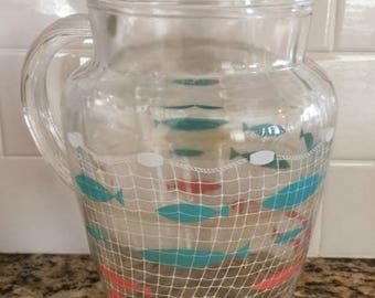 Vintage Pink Aqua Fish Net Pitcher Retro