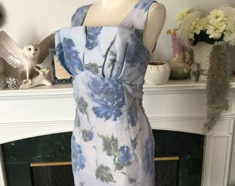 50s Blue Rose Crumb Bust wiggle Dress