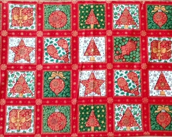 Christmas Fabric Panel  Xmas Squares Patchwork Quilting Sewing