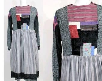 1970s René Derhy peasant dress / 1970 patchwork dress