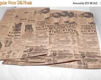On Sale 100 Vintage 8.5x11 Newsprint Bags, Vintage Newspaper Kraft Party Merchandise Bags,  Favor Bags