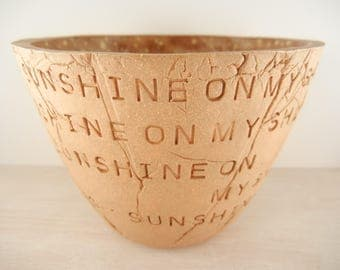 John Denver - Sunshine On My Shoulders - Pottery Bowl / Pottery Vase / Song Lyric Pottery / Music Lyric Pottery / John Denver Lover Gift