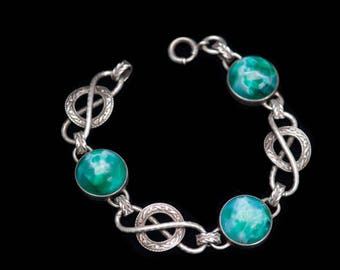 Sterling Art Deco Bracelet Peking Glass Bracelet Green Bracelet