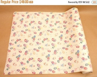 "ON SALE vintage 40's easter wrapping paper roll, easter eggs & bunny in basket, 20"", 2 lbs"