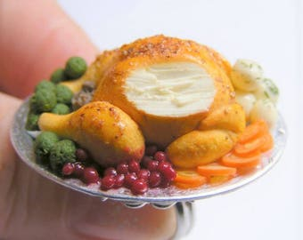 Food Jewelry, Roast Turkey Ring, Christmas Ring, Thanksgiving ring, Miniature Food Ring , Mini Food, Turkey Ring, Dollhouse, Roast Chicken