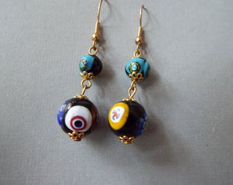 Venetian glass Murano millefiori glass beaded dangle earrings