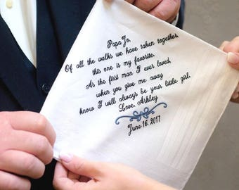 Father of the Bride Gift-Wedding-Weddings-Personalized Hankerchief-Wedding Day-Gift for Dad-Wedding Gift Daddy-FAVORITE WALK -Give me Away