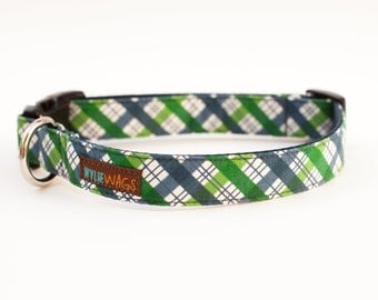 Handmade Green Blue Plaid Dog Collar, dog collar for girls, dog collar for boys, dog collar