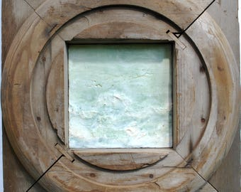 "Original Encaustic Painting with Vintage Corbel Frame ""Virescent No. 3"""