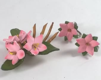 Vintage Pink Flower Pin Bouquet and Earrings - Leather Floral Brooch Jewelry - Retro Canadiana Souvenir