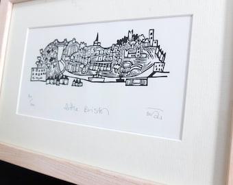 Little Bristol - lino print, handmade, original, printmaking, art, bristol gifts, black and white, monochrome, handprinted,