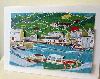 Seaside Card, greeting card, cornwall card, nautical card, card with harbour, boat card, birthday card, card for men, blank card, Polperro
