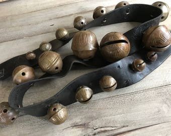 Rustic Brass Sleigh Bells, 18 Decorated Brass Bells, Leather Strap, Country Farmhouse, Primitive Decor