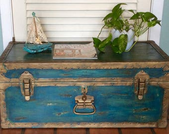 Vintage Trunk Blue Coffee Table 1930s
