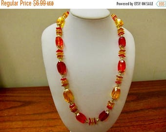 On Sale HONG KONG Vintage Yellow, Red and Orange Sculptured Plastic Beaded Necklace Item K # 618