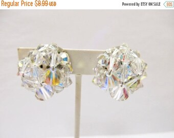 ON SALE Vintage Aurora Borealis Crystal Cluster Earrings Item K # 2821