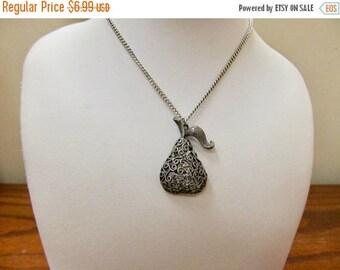 ON SALE Vintage Ornate Openwork Pear Necklace Item K # 133