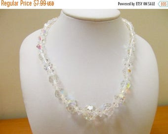 ON SALE Vintage Graduated Round Aurora Borealis Crystal Necklace Item K # 2265