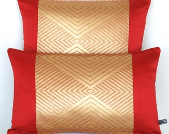 Luxurious Decorative Pillow Cushion in Metallic Copper, Gold & Red Geometric Diamond Design made from rare Japanese Obi Silk Ltd Edition