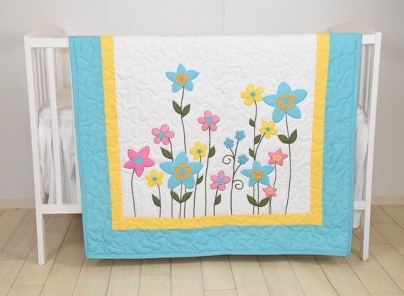 Flower baby quilt - yellow pink and aqua garden on light white,  hand embroidered, appliqued, art crib bedding handmade girl blanket