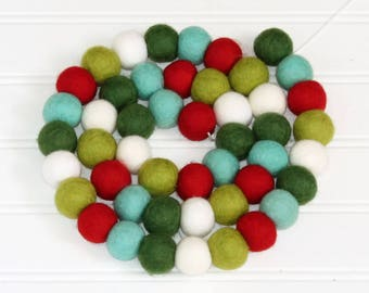 Christmas Felt Ball Garland, Pom Pom Garland Christmas, Christmas Party Decor, Bunting Banner, Red White & Green, Christmas Tree Decoration
