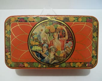 Vintage 1920's Sunshine Fruit Cake Loose Wiles Biscuit Company Tin