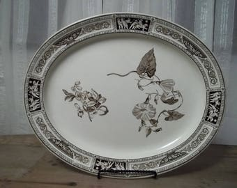 Rare Antique 1878 Wedgewood Pompeii Brown Transferware Platter Aesthetic Movement Victorian Children Floral