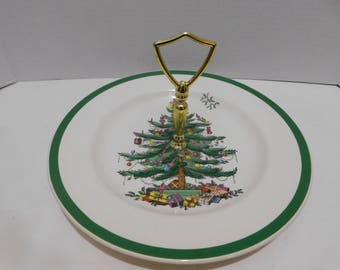 Vintage Spode Christmas Tree Single Tier Tidbit Tray