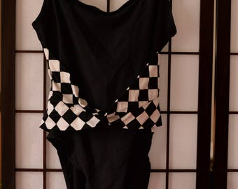 Rose Marie Reid 80s Black and White Checkered Bathing Suit Size 10