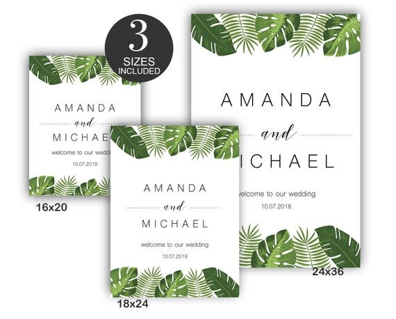 Tropical Wedding Welcome sign INSTANT DOWNLOAD PDF file