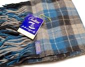 vintage Pendleton blanket: 100% virgin wool black, gray, and blue plaid fringed throw / stadium blanket and seat / carrying bag