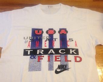 Vintage Nike Team USA Track & Field 90s GRAY TAG Tshirt