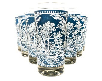 Wedgewood Blue Cottage Tumblers  Set of 10, Blue White Tall Glassware