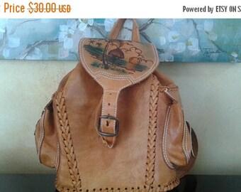 SALE Tooled mini backpack bag tropical palm tree print vintage