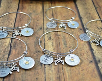 Shoot Like A Girl Bangle Bracelet - Set of 5 - Bridesmaids Gift - Shotgun Shell Jewelry - Girls and Guns Jewelry - Country Themed Bracelet