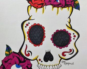 Sugar Skull Drawing, Day of the Dead Art, 9x12 inch Drawing, Dia De Los Muertos, Skull Wall Decor, Tattoo Art, Eyeball Roses Drawing