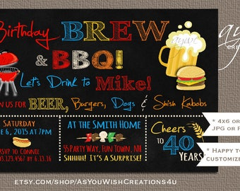 Brew and BBQ Birthday Party Invitation Printable Invitation Beer and BBQ Invitation Chalkboard Brew and Barbecue Invites 40th Birthday