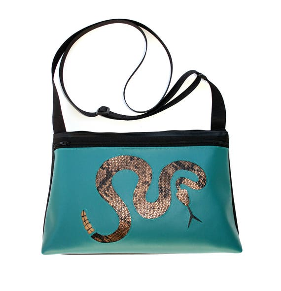 Rattlesnake, turquoise vinyl, medium crossbody, vegan leather, zipper top