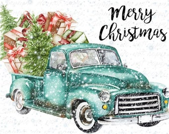 Merry Christmas Blue Vintage Truck with Presents Heat Press Transfer DIY Iron on Transfer